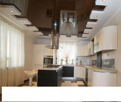 contemporary-gypsum-ceiling-for-kitchen-brown