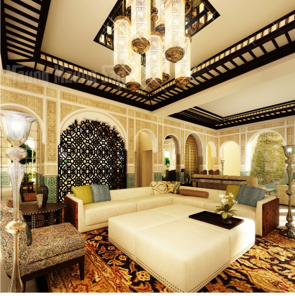 moroccan theme living room decorating ideas with white sofa beautiful rug and luxury celling moroccan living room 590x593 صور مجالس عربية حديثة بتصاميم والوان رائعة