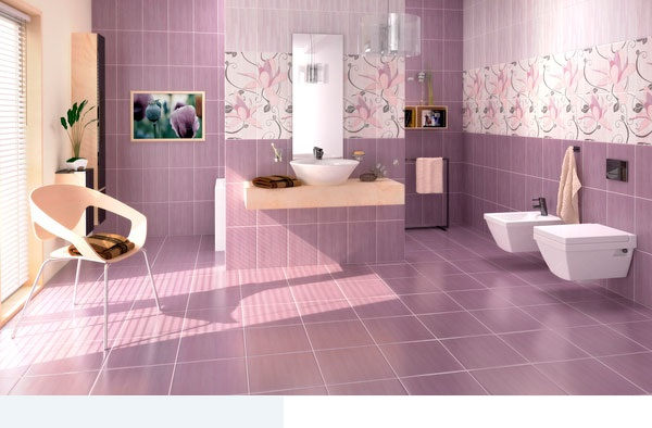 Purple Bathroom Tiles Ideas :