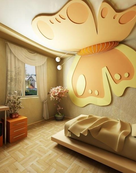 بالصور جبس امبورد غرف نوم butterfly shaped bedroom ceiling designs from PVC